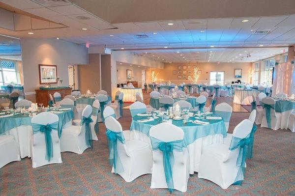 White Table Cloths And Chair Covers With Sheer Malibu Blue Overlays And  Chair Sashes ...