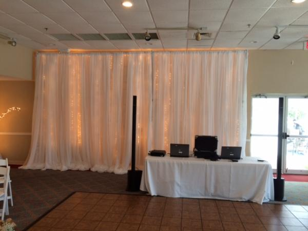 Allow Marry Me Wedding Rentals to custom design wedding wall draping and lighting to accent your special day. & Pipe and Draping wedding wall draping cafe lighting twinkle ... azcodes.com