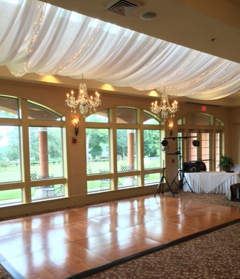 Lighted Drapes With Chandeliers Over Oak Dance Floor At Scenic Hills Country Club Wide Andrew Wedding